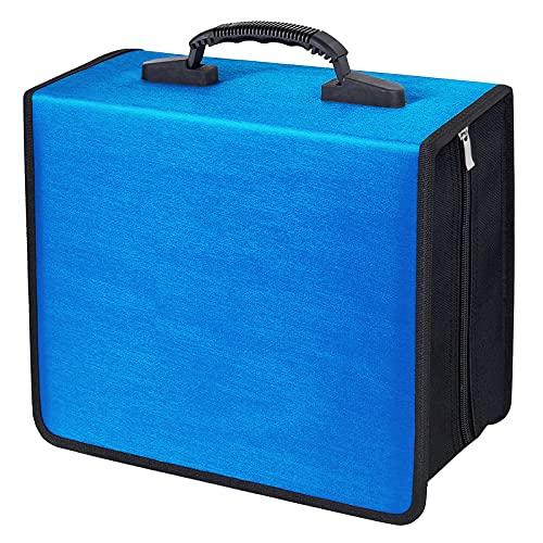 Siveit 400 Capacity CD/DVD Case Wallet VCD Storage Holder Booklet Album Box Binder(Blue)
