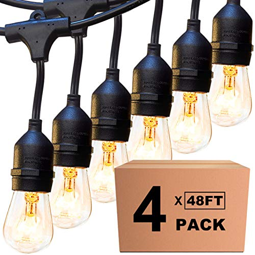 4 Pack 48 FT Outdoor String Lights Commercial Great Weatherproof Strand Edison Vintage Bulbs 15 Hanging Sockets, UL Listed Heavy-Duty Decorative Café Patio Lights for Bistro Garden