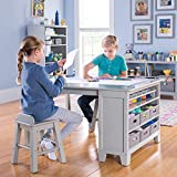 MARTHA STEWART Living and Learning Kids' Art Table and Stool Set (Gray) - Wooden Drawing and Painting Desk with Paper Roller, Paint Cups and Removable Craft Supplies Storage Bins