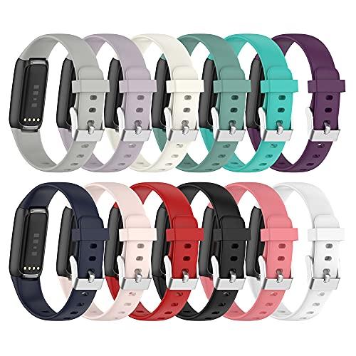Chofit Correas compatibles con Fitbit Luxe correa, paquete de 12 bandas deportivas de silicona suave de repuesto clásica, pulsera colorida para reloj de actividad Luxe (pequeño)
