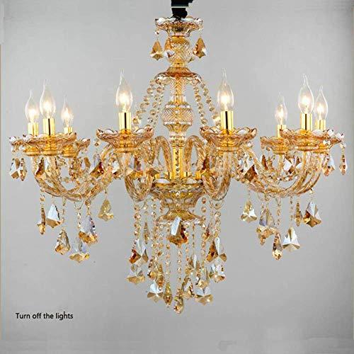 ZCZZ Lámpara de araña para Sala de Estar de Estilo Europeo, Dormitorio, Restaurante, Luces, lámparas de Cristal, Velas, Moderno, Minimalista, Ambiente hogareño, lámparas de Villa, 10 (LED), ámbar