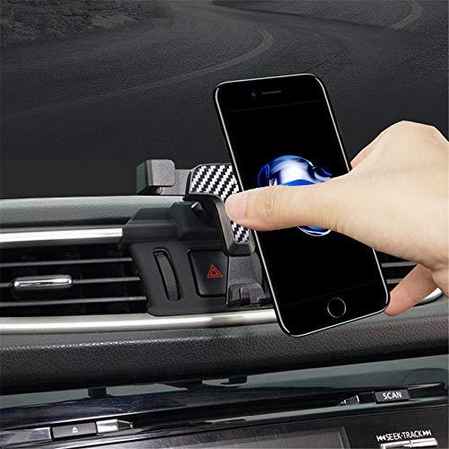 Soporte de teléfono móvil para Qashqai J11 2014-2020, accesorio de coche, accesorio para rejilla de ventilación, soporte de coche, rotación de 360 grados (color de fibra de carbono)