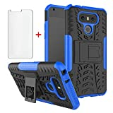 Phone Case for LG G6 with Tempered Glass Screen Protector Cover and Stand Kickstand Hard Rugged Hybrid Protective Cell Accessories LGG6 ThinQ LG6 Thin Q G 6 Plus G6+ 6G VS988 H872 Cases Men Blue