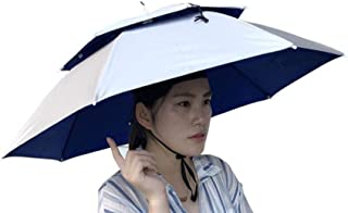 Umbrella Hat, Sttech1 Novelty Double Layer Sun Hat Golf Fishing Camping Fancy Dress Folding Headwear Waterproof Elastic for Fishing Gardening (Silver)