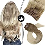 Moresoo 12 Pulgada Double Weft 100% Remy Cabello Humano Clip in Remy Hair Extensions Brown #6 Ombre to #60 Blonde Balayage Color Clip on Cabello Humano Extensions Real Hair 5PCS 70G