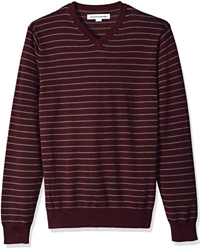 Amazon Essentials Men's V-Neck Sweater, Burgundy/Grey Heather Stripe, X-Large