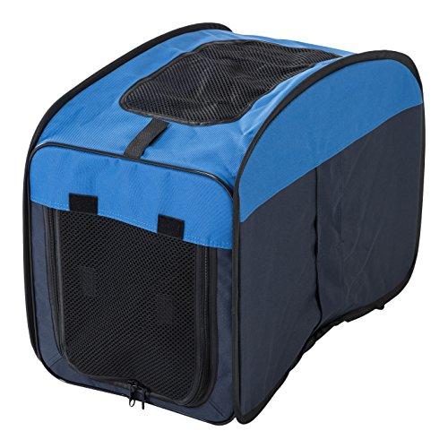 Iris Ohyama, jaula plegable para perros y gatos - Pet Crate - DCC1143, nylon, azul marino, tamaño S, 53,5 x 33 x 40 cm