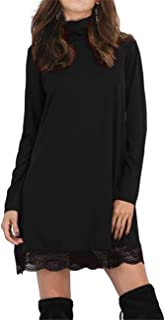 Leadingstar Women Basic Turtleneck Cotton Lace Casual Dress