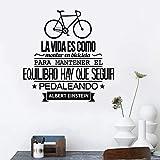 Vinilo Etiqueta de La Pared Cita en español Frase inspiradora Vida le gusta andar en bicicleta Tatuajes de pared Sala de estar Decoración para el hogar Arte de la pared Decoración 58x58 cm