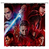 CHENGHUI Movie Poster Shower Curtain Aggregated Interstellar Soldiers Lightsaber Rebel League Freedom Counterattack Bathroom Decor Set with Hooks,71X71 Inchs,Polyester Red White
