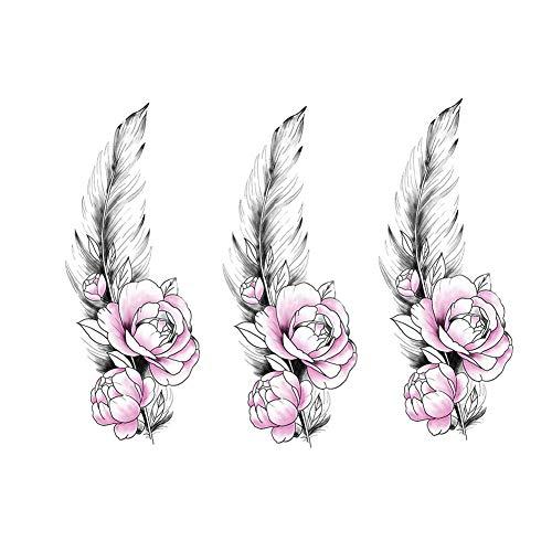 2 feuilles plume rose autocollants de tatouages temporaires pour les vacances de fête costumée couvrant les cicatrices
