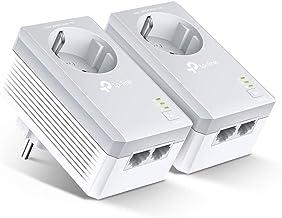 TP-Link TL-PA4020P Kit Powerline con enchufe adicional, AV 600 Mbps en Powerline, 2 puerto ethernet, homeplug AV, sin wifi, solución para dispositivos con cable como PC, decodificador Sky, PS4
