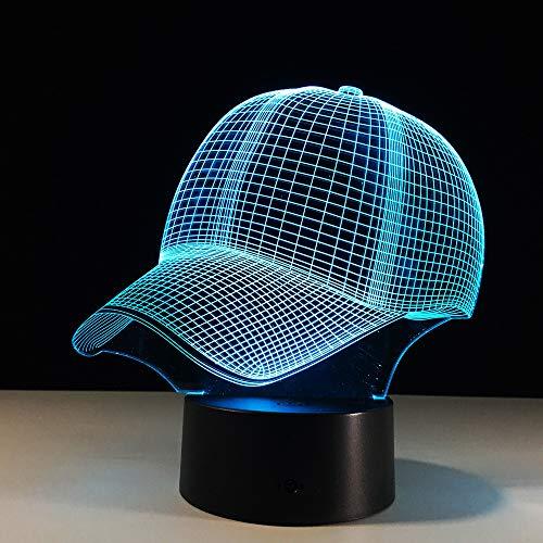 KangYD 3D Night Light Baseball Cap Shape, LED Optical Illusion Lamp, G - Mobile Phone Control Base, Decor Gift, Birthday Gift, Halloween Gift, Decor Lights, Touch LED, Decor Lamp