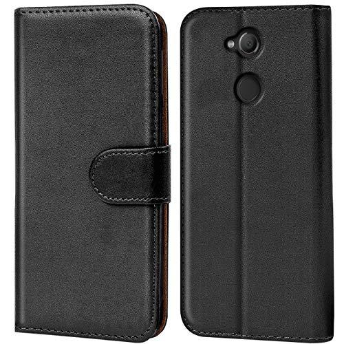 Verco Xperia XA2 Hülle, Handyhülle für Sony Xperia XA2 Tasche PU Leder Flip Hülle Brieftasche - Schwarz