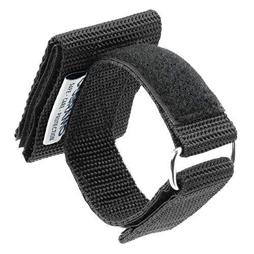 OBRAMO Handschuhhalter extra lang! Für Einsatzhandschuhe Polizei, Security, horizontale Trageweise, Lange Ausführung für Diensthandschuhe mit Knöchelschutz und Quarzsand Koppel Gürtel Halterung
