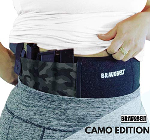 BRAVOBELT Camo Edition Belly Band Holster for Concealed Carry - Athletic Flex FIT for Running, Jogging, Hiking - Glock 17-43 Ruger S&W M&P 40 Shield...
