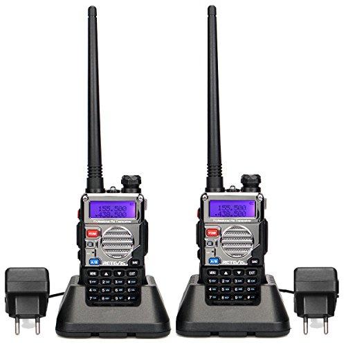 Retevis RT5RV Walkie Talkie Profesional Doble Banda 128 Canales VOX DTMF FM Radio Pantalla LCD Radio Marina con Auricular (1 par)