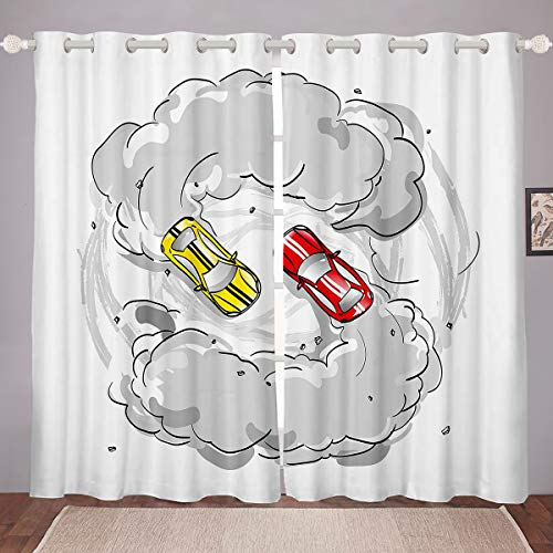 Erosebridal Racing Window Drapes Dirt Bike Curtains for Kids Teens Boy Adult Red Toy Car Yellow Automobile Fog Window Curtain Panels Extreme Sports Theme Grommet Curtain Decor, 84'X90'