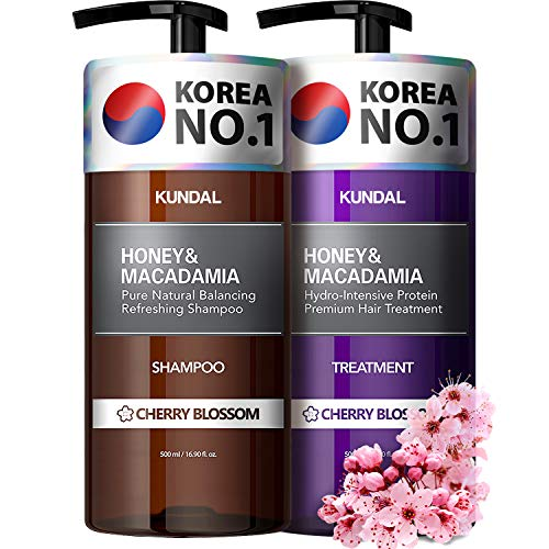 KUNDAL Sulfate Free Shampoo and Conditioner Set with Argan Oil - Moisturizing Nourishing for Dry Damaged hair, Cherry Blossom, Safe for Color-treated Hair 16.9 fl oz x 2