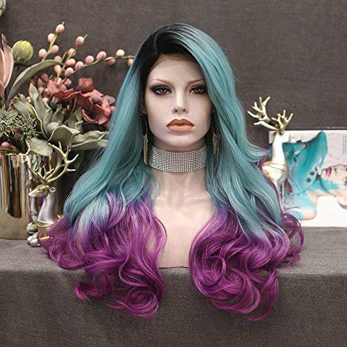 Imstyle Mermaid Colorful Lace Front Wig Green Purple Dark Root Long Wave Synthetic Density Hair Wigs for Women 24""