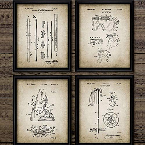 TeriliziRetro Poster Ski Patent Leinwand Wohnkultur Vintage Ski Sport Poster Leinwand Malerei Wandbild Wohnzimmer Decoration-30X40Cmx4 Kein Rahmen