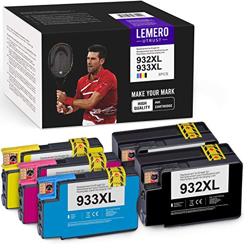 LEMEROUtrust 932XL 933XL Cartuchos de Tinta Compatible para HP 932 933 XL para HP Officejet 6100 6600 6700 7110 7510 7512 7610 7612 Impresora (5-Pack)