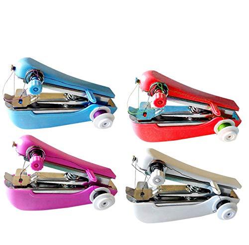 Gshy - Mini máquina de coser portátil, herramienta de punto rápido manual para ropa, cortina, DIY 1 unidad color aleatorio