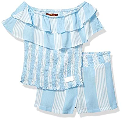 7 For All Mankind Baby Girls Tube Top and Matching Short Set, Kentucky Blue Stripe, 12M