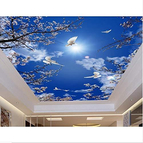 Zybnb Benutzerdefinierte 3D Deckenwandbilder Kirschblauer Himmel Tauben Tapete Für Badezimmer 3D Deckenbilder Malerei Tapete An Der Decke-200X140Cm