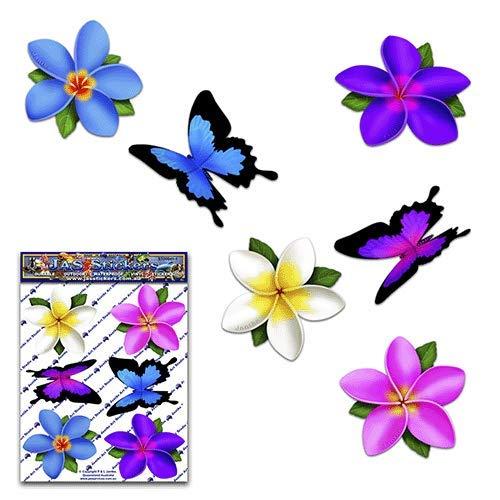 Plumeria multicolore a fiore singolo di frangipane + adesivi per animali piccoli animali farfalla - ST00041MC_SML - Adesivi JAS