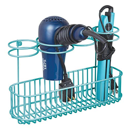 mDesign Metal Wire Cabinet/Wall Mount Hair Care & Styling Tool Organizer - Bathroom Storage Basket for Hair Dryer, Flat Iron, Curling Wand, Hair Straightener, Brushes - Holds Hot Tools - Teal/Blue