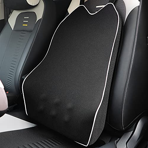 Car Back Support Lumbar Support for Car Seat Driver, Memory Foam Ergonomic Back Cushion Back Support for Car Lumbar/Back Pain Relief, Supportive and Comfortable, Removeable Cover(Black)