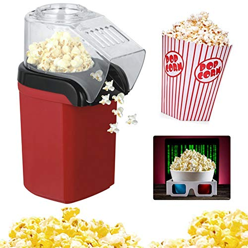 Lowest Prices! ZRXRY Popcorn Maker, Hot Air Popcorn Popper with Wide Mouth Design, Oil-Free, Includi...