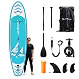 Famistar Inflatable Stand Up Paddle Board 12'x32''x6'' Lightweight SUP for Drift Yoga Fish with Accessories ISUP Carry Bag, 3 Fins, Non-Slip Eva Deck, Hand Pump, Adjustable Paddle, Leash, Repair Kit