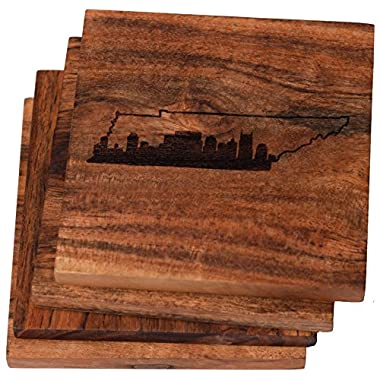 Nashville Skyline within Tennessee State Outline Drink Coasters (Multiple Designs) - Engraved Acacia Wood Design - Set of Four