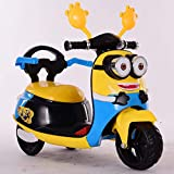 AGOOLZX 2020 Nuevo Interior y Exterior Pequeña Tarjeta Amarilla Motocicleta Eléctrica Coche de Batería de Tres Ruedas con Música Coche de Juguete Acelerador Colorido Coche Eléctrico