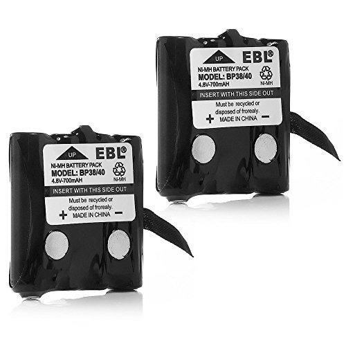 EBL BP-38 Two-Way Radio Batteries 4.8V 700mAh Replacement Battery for BP-38 BP-39 BT-1013 BT-537 BP-40 FRS-008 (2 Pack)