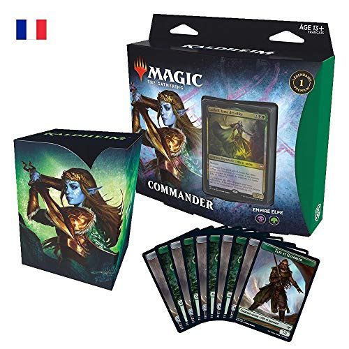 Magic The Gathering Commander Kaldheim : Empire Elfe (Deck de 100 Cartes prêt-à-Jouer), Vert-Noir