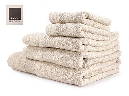 Zucchi Set Asciugamano 5 Pezzi Home Fashion Variante Beige + tavoletta Profumo Biancheria per armadi by biancocasa