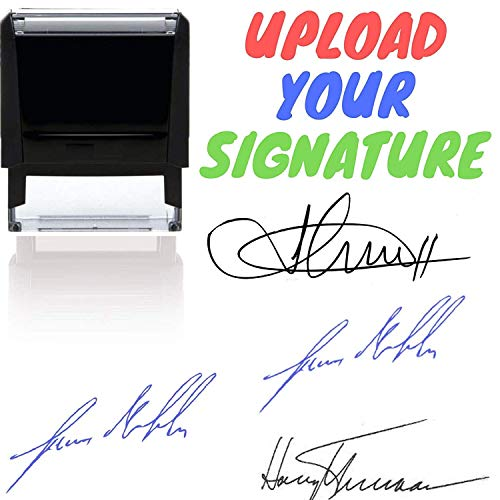 Your Signature Custom Signature Stamp - Customizable Signature Stamp - Personalized Self-Inking Signature Stamps. Black Blue Red Green or Purple Ink