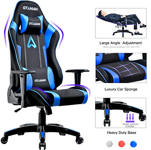 GTXMAN Gaming Chair Racing Style Office Chair Video Game Chair Breathable Mesh Chair Ergonomic Heavy Duty 350lbs Esports Chair Blue blue chair gaming