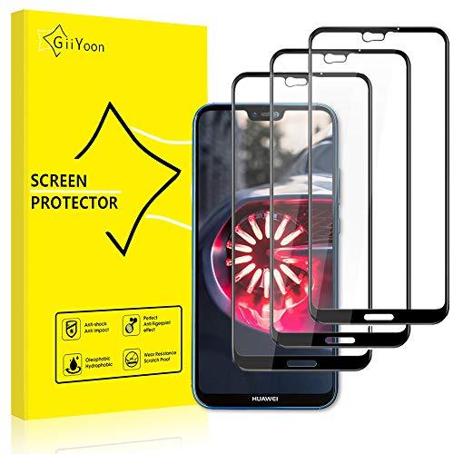 GiiYoon Pacco da 3 Pellicola Protettiva in Vetro Temperato per Huawei P20 Lite Full - Durezza 9H, Anti graffio, Senza Bolle, Alta Definizione, Facile da Pulire