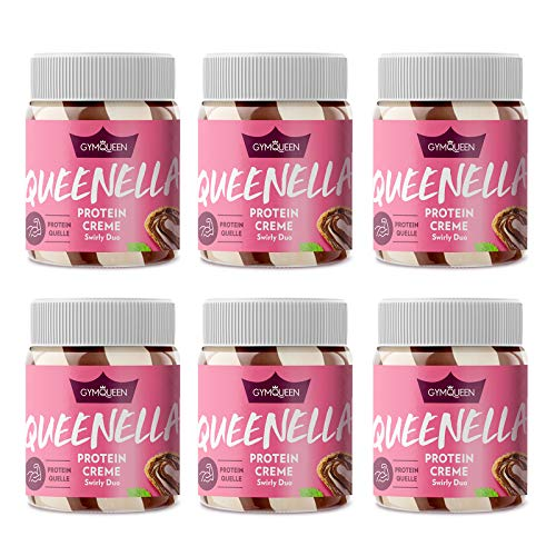 GYMQUEEN Queenella 6x250g | Protein Creme mit 21,5% Eiweiß | Ohne Zuckerzusatz | Haselnusscreme mit weißer Schokolade | Brot-Aufstrich angereichert mit bestem Whey Protein | Swirly Duo