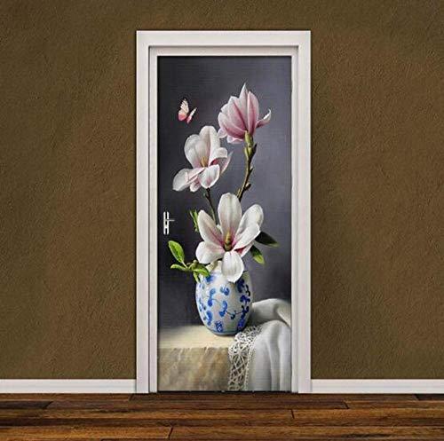 Sticker Mural olieverfschilderij magnolie vlinder deur sticker 3D behang slaapkamer woonkamer deur decor 3D aanbieding Pvc zelfklevende waterdichtheid 77 * 200 cm