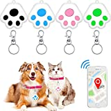 4 Pieces Smart Trackable Key Finders Pet Locator Keychains GPS Tracking Devices Smartphone Keychain Alarms Wallet Anti-Lost Tag Alarms for Kids Pets Cats Dogs Backpacks
