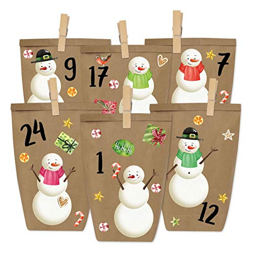 Papieren drachen DIY adventskalender om te vullen - om op te plakken - met 24 papieren zakken en leuke stickers voor kinderen - Kerstmis 2019