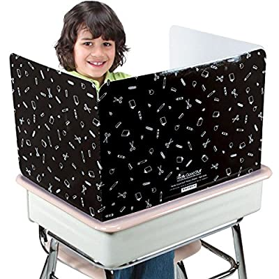 Really Good Stuff Large Privacy Shields for Student Desks – Set of 12 - Gloss - Study Carrel Reduces Distractions - Keep Eyes from Wandering During Tests, Black with School Supplies Pattern from Really Good Stuff ®