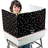 Really Good Stuff Large Privacy Shields for Student Desks – Set of 12 - Gloss - Study Carrel Reduces Distractions - Keep Eyes from Wandering During Tests, Black with School Supplies Pattern