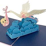3D-POP-Up-Karte, Klapperstorch mit Baby, Geburtskarte, Glückwunschkarte zur Geburt eines Mädchen, handgemachte Grußkarte, Babykarte Gratulation, Geschenkkarte mit Umschlag, Geburtstagskarte, Rosa