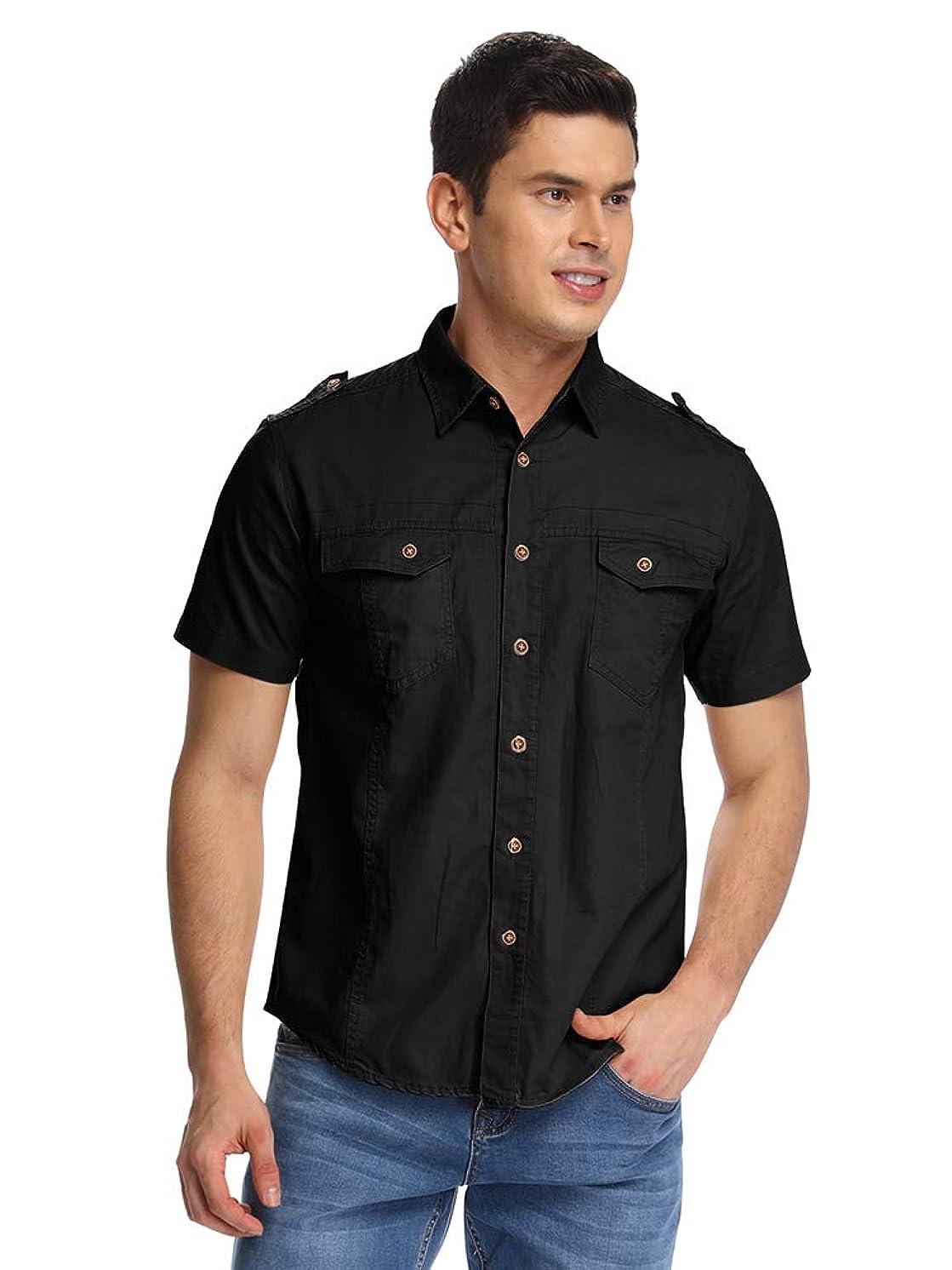 Mesinsefra Men's Cotton Solid Short Sleeve Military Button Down Shirts